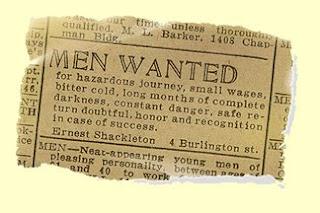 Anuncio de trabajo de Shackleton