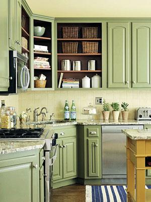 Kitchen cabinets green