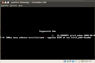 peppermint os startup error message