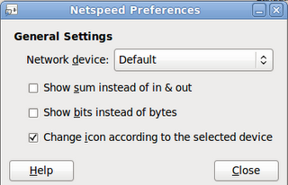 Netspeed preferences menu