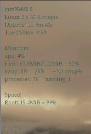 default conky color on antix os desktop