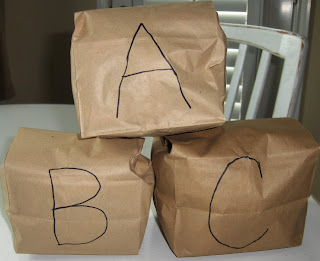 paper bag letter blocks