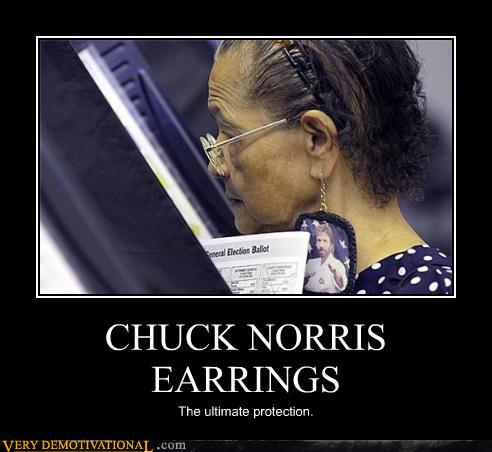 Chuck Norris Motivational Poster on Demotivational Posters Chuck Norris Earrings Jpg