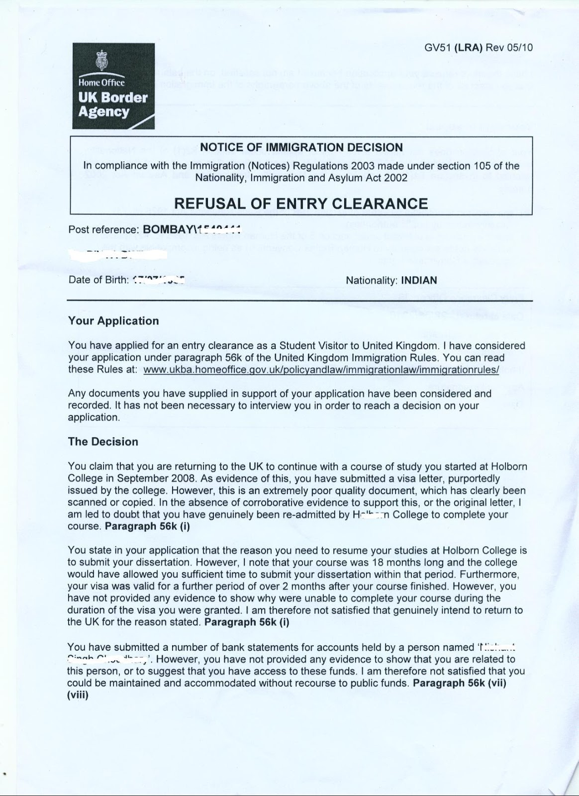 Uk visa application bank letter