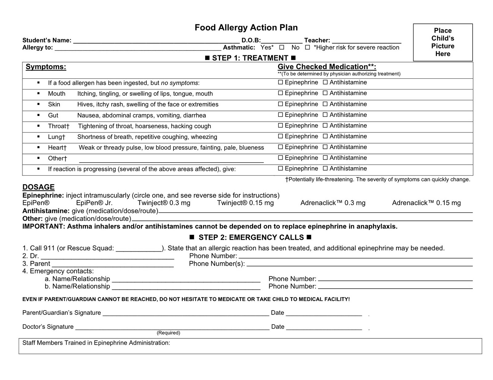 Printable food allergy journal template Trials Ireland