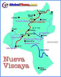 Map of  the province of  Nueva Vizcaya, Philippines