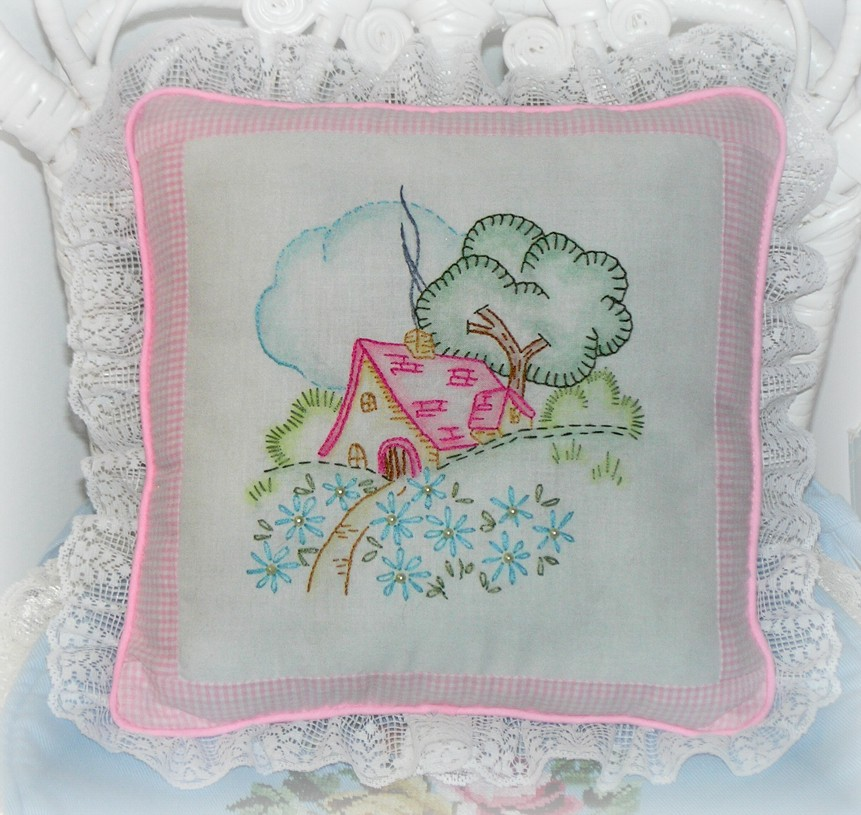 Kitty And Me Designs Embroidered Cottage Style Accent