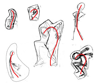 At the end of class as I was turning off the computers I found some abandoned student sketches of poses