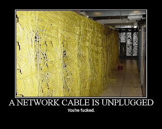 A network cable is unplugged you are fucked