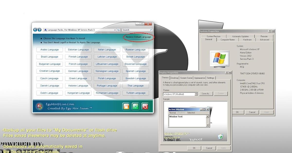 windows xp install english language pack