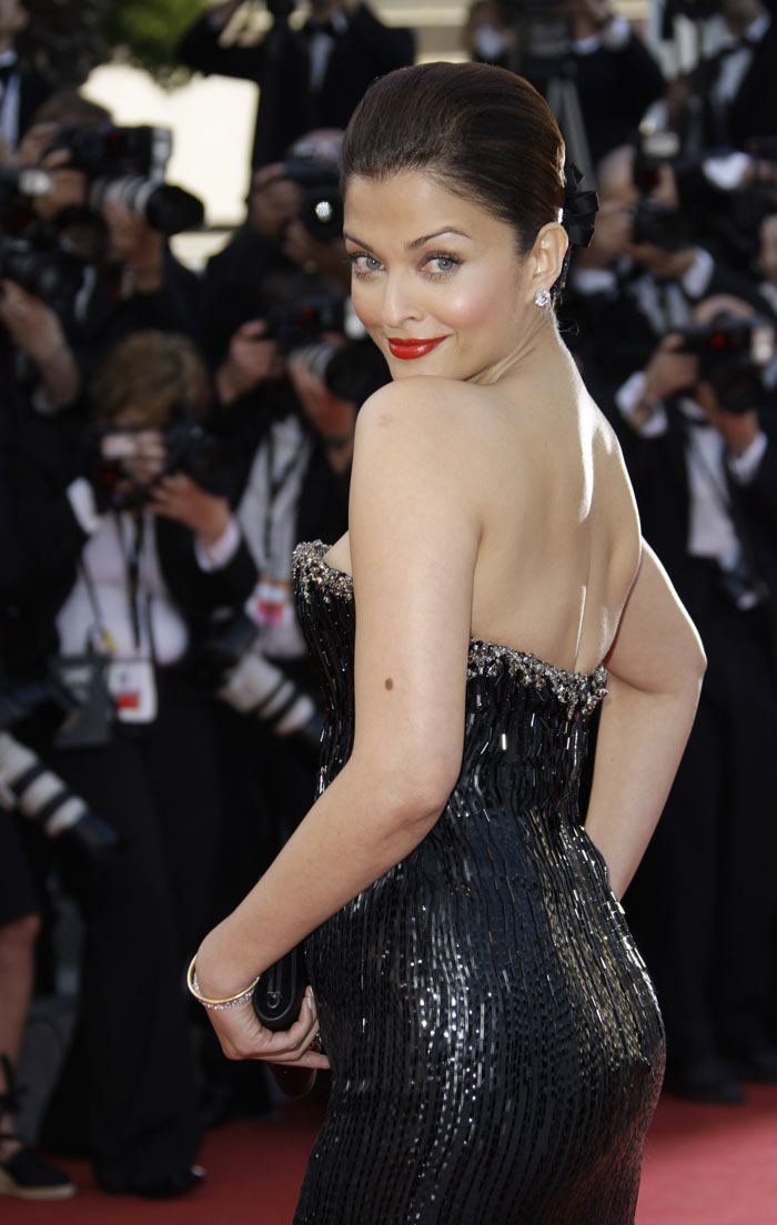 Aishwarya Rai in a Black Backless Long Gown at Cannes