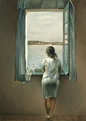 salvador dali painting of woman looking out window at water and sail boat