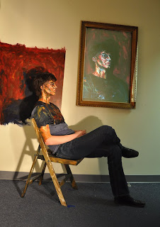 photograph showing how the artist makes real person look like a painting
