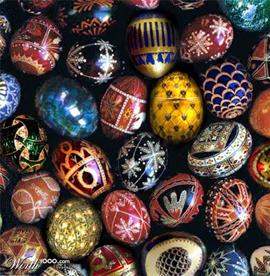 close up of richly colored Ukrainian Easter eggs with geometric patterns