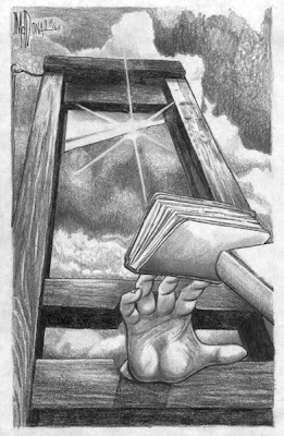 pencil drawing of a hand reaching for books through a guillotine