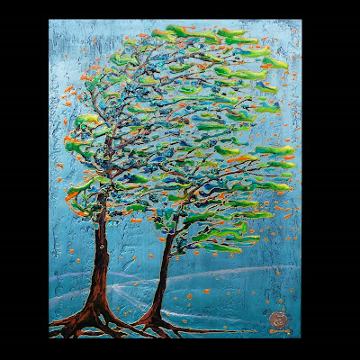 abstract painting of wind blown trees in greens, blues, and rusts