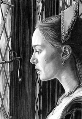 pencil drawing of Natalie portman as Anne Boleyn 