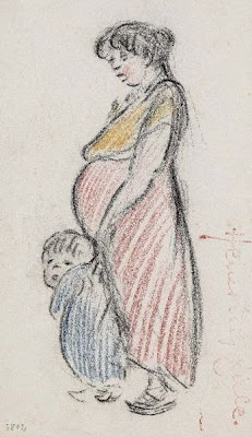 loose sketch of pregnant woman and toddler