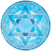 Pale blue Star of David in a circle
