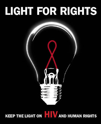 picture of light bulb with text keep the light on HIV and human rights