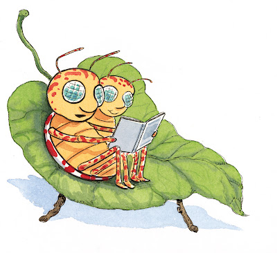 two green bugs reading a book in a leaf