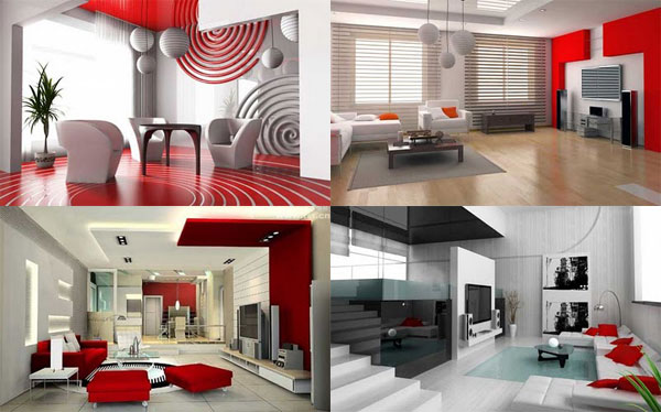 Combination Red White Elegant Living Room Decorating Ideas ...