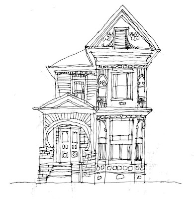Old Victorian Houses Drawing Pin it