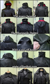 Black Leather Vash The Stampede Coat with a Hood, from AbbyShot Clothiers