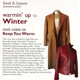 AbbyShot's Tenth Doctor Coat and Martha Jones Jacket from Doctor Who, featured in February's Downhome Magazine