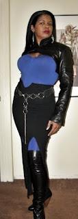 AbbyShot Customer Bleu in her new GIG Shrug - Full Length View