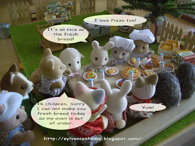 sylvanian families pizza lunch
