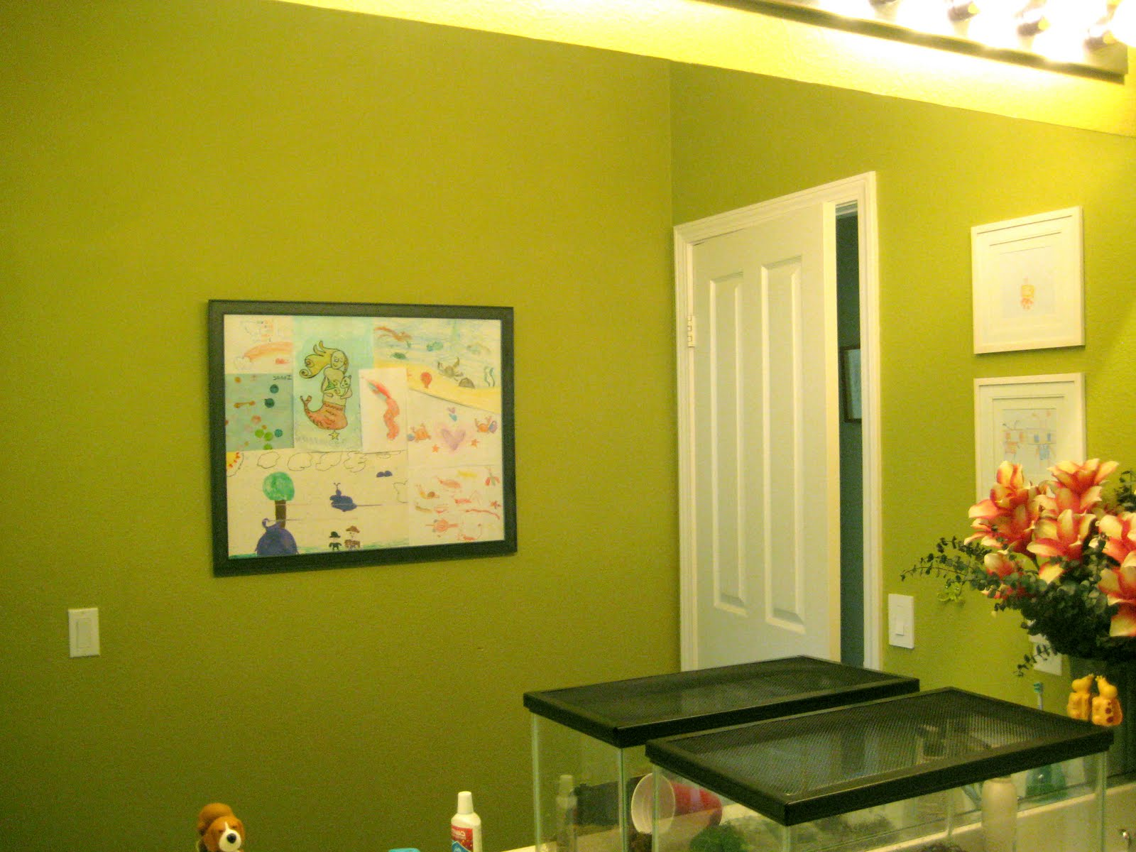 The bathroom  before  with the shockingly chartreuse primer basecoat   Sorry  this is a bad pic the color is off   it actually looks better in  person. Kids  Bathroom Walls   Love Paper Paint
