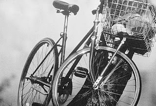 Bicycle in black and white.