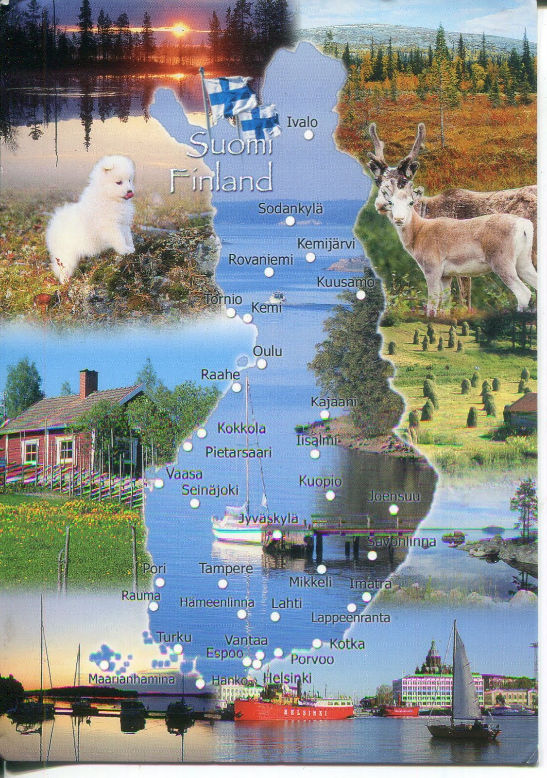 collect roc  finland postcard  map of finland