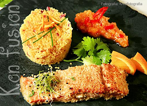 salmon sesamo receta pescado