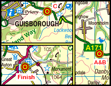 Map of the Gerrick to Great Ayton area