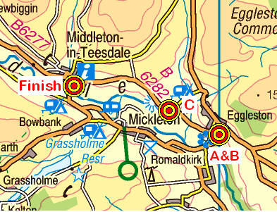 Map of the Eggleston to Middleton area