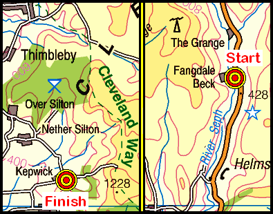 Map of the Fangdale Beck to Kepwick area