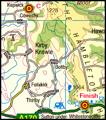 Map of the Ingleby Cross to Sutton Bank area