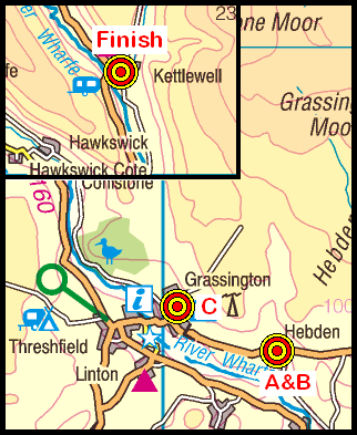 Map of the Hebden-Kettlewell area