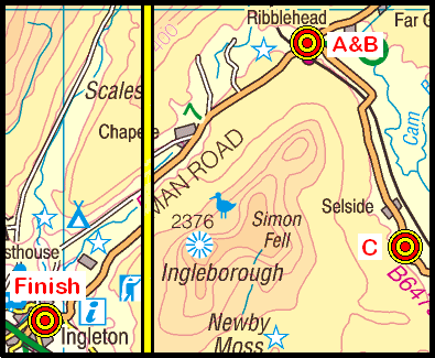 Map of the Ribblehead-Ingleton area