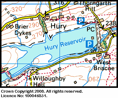 Map showing the location of the Hury Reservoir
