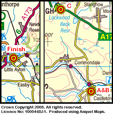 Map of the Castleton - Great Ayton area