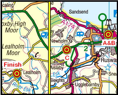 Map of the Whitby to Lealholm area