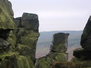 Looking west through the Wain Stones