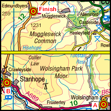 Map of the Wolsingham-Edmundbyers area