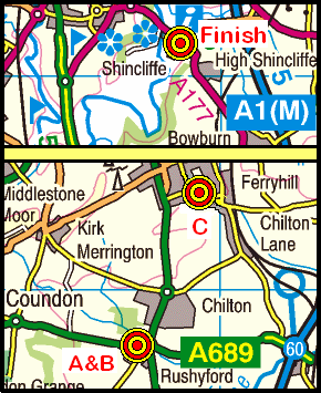 Map of the Rushyford-Shincliffe area