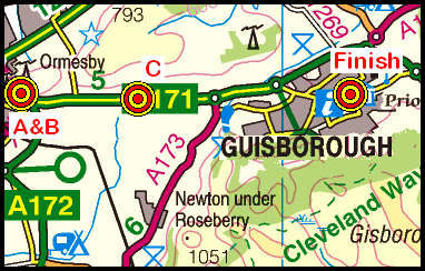 Map of the Ormesby Bank- Guisborough area