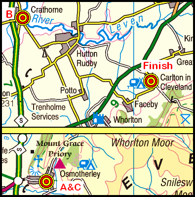 Map of the Osmotherley-Carlton area