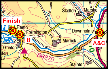 Map of the Downholme Bridge area